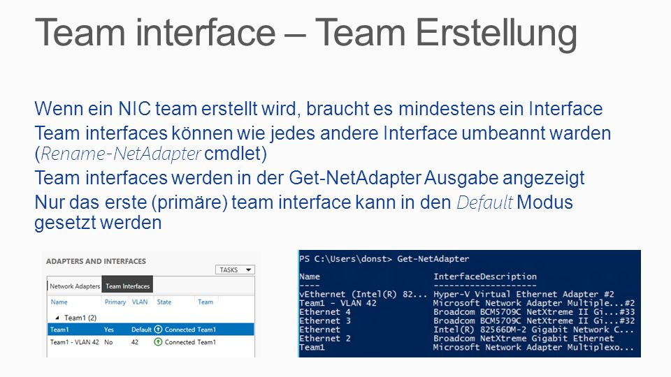 Team interface – Team Erstellung
