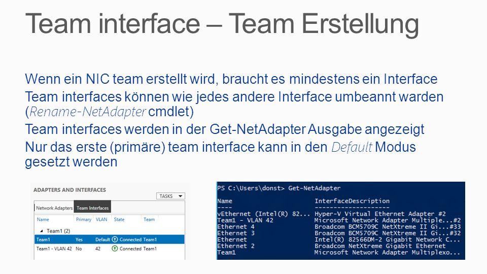 Team interface – Team Erstellung