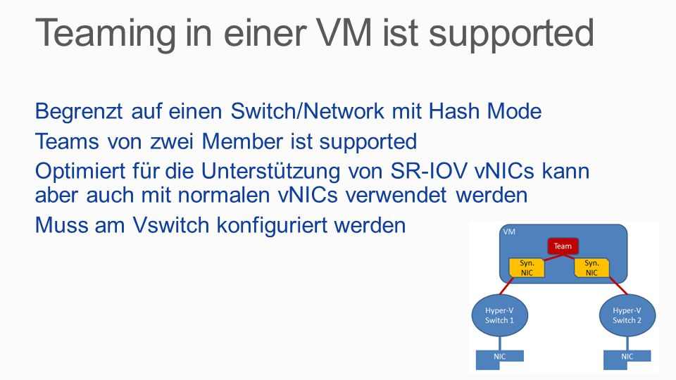 Teaming in einer VM ist supported