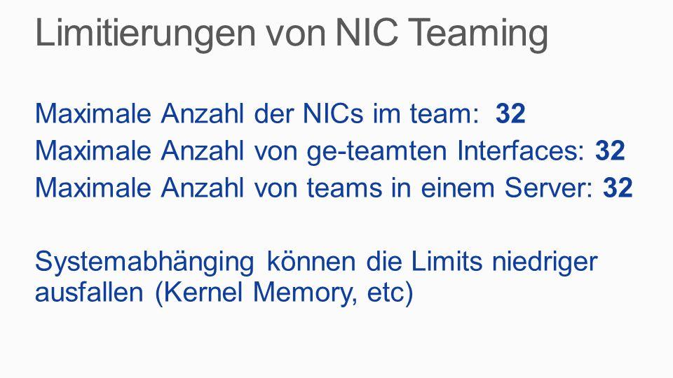 Limitierungen von NIC Teaming