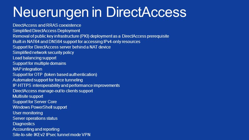 Neuerungen in DirectAccess