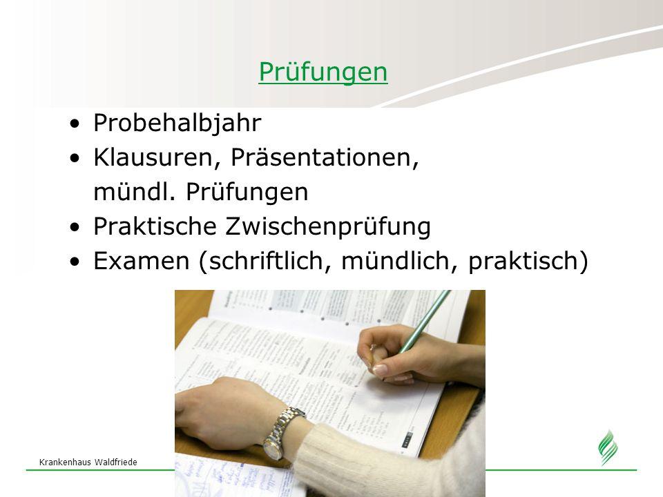Prüfungen Probehalbjahr Klausuren, Präsentationen, mündl. Prüfungen