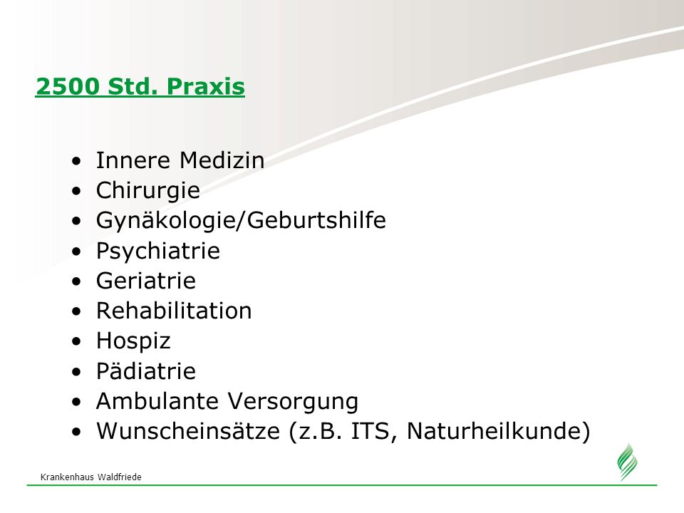 Gynäkologie/Geburtshilfe Psychiatrie Geriatrie Rehabilitation Hospiz