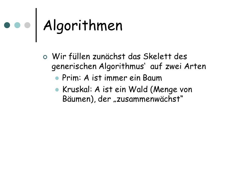 Algorithmen Wir füllen zunächst das Skelett des generischen Algorithmus' auf zwei Arten. Prim: A ist immer ein Baum.