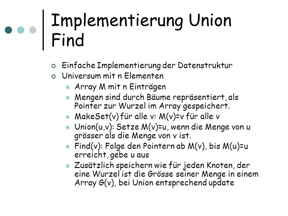 Implementierung Union Find