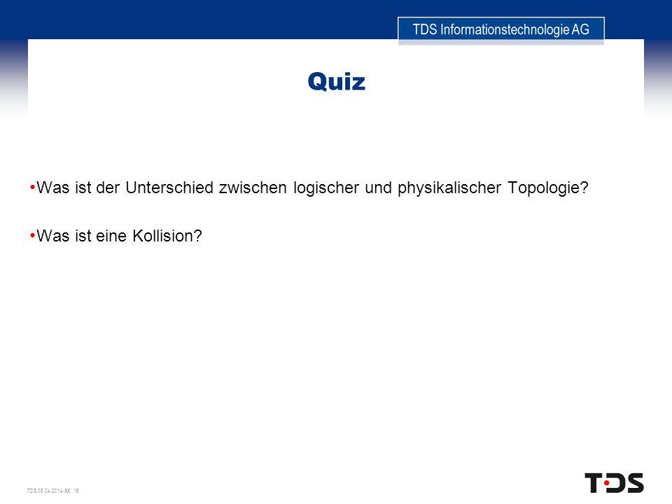 Quiz Was ist der Unterschied zwischen logischer und physikalischer Topologie.