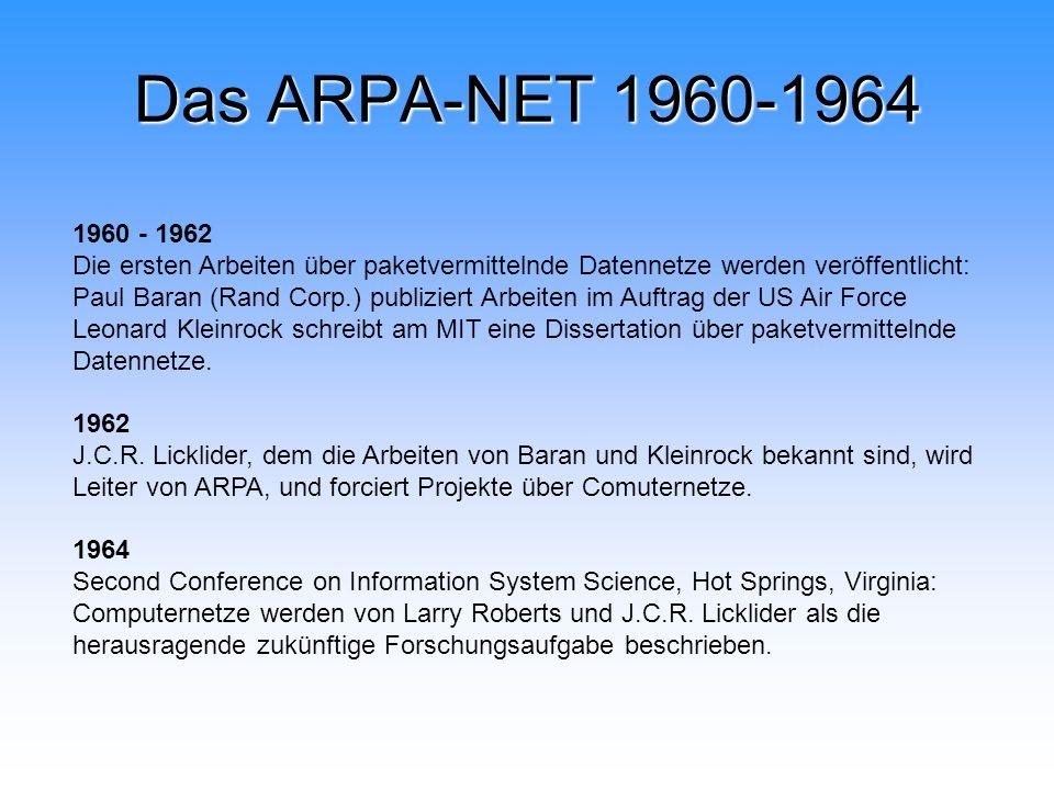 Das ARPA-NET 1960-1964 1960 - 1962.