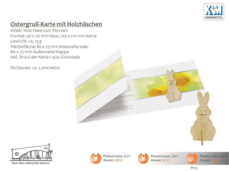 Ostergruß-Karte mit Holzhäschen