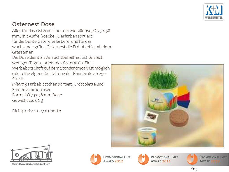 Osternest-Dose Alles für das Osternest aus der Metalldose, Ø 73 x 58 mm, mit Aufreißdeckel. Eierfarben sortiert.