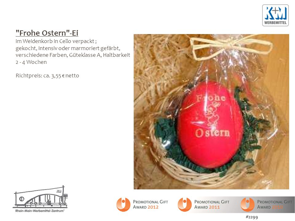 Frohe Ostern -Ei im Weidenkorb in Cello verpackt ;