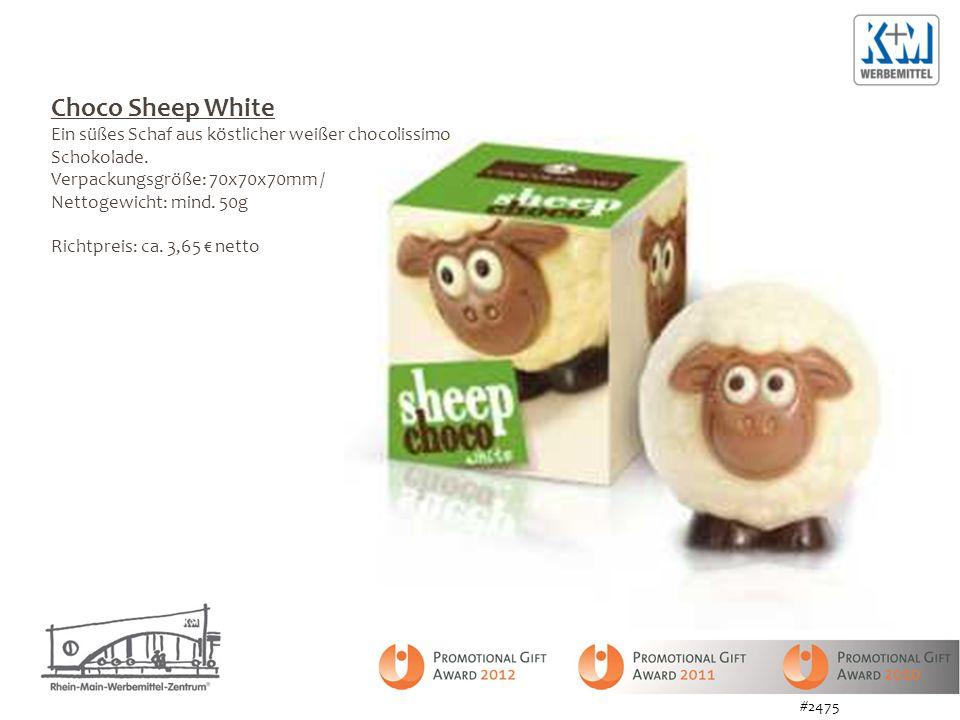 Choco Sheep White Ein süßes Schaf aus köstlicher weißer chocolissimo Schokolade. Verpackungsgröße: 70x70x70mm /