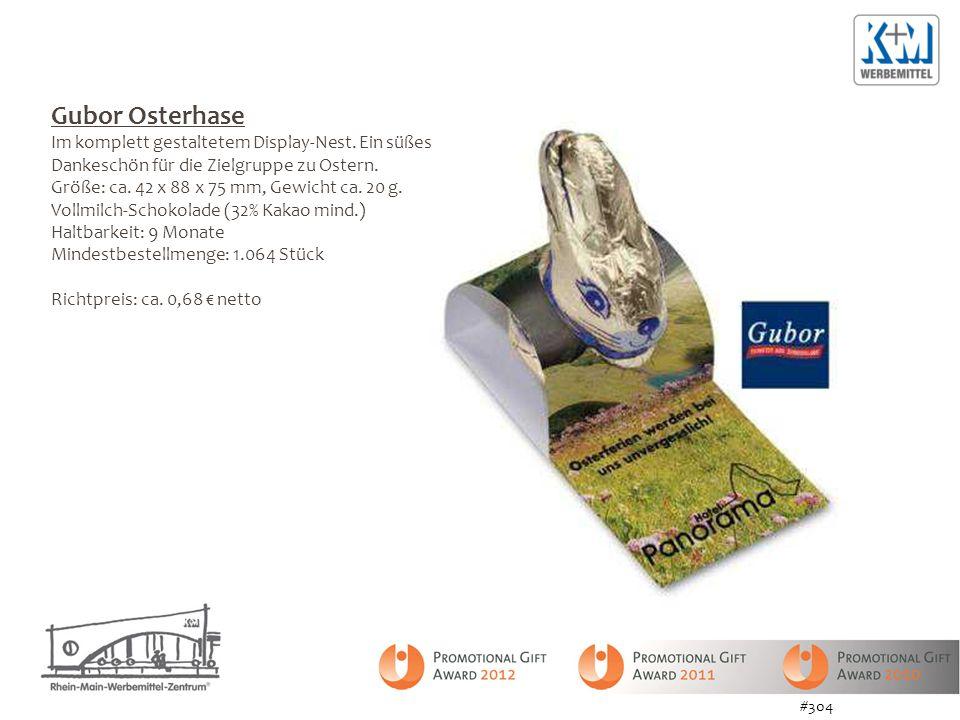 Gubor Osterhase Im komplett gestaltetem Display-Nest. Ein süßes Dankeschön für die Zielgruppe zu Ostern.