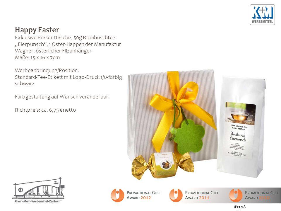 """Happy Easter Exklusive Präsenttasche, 50g Rooibuschtee """"Eierpunsch , 1 Oster-Happen der Manufaktur Wagner, österlicher Filzanhänger."""