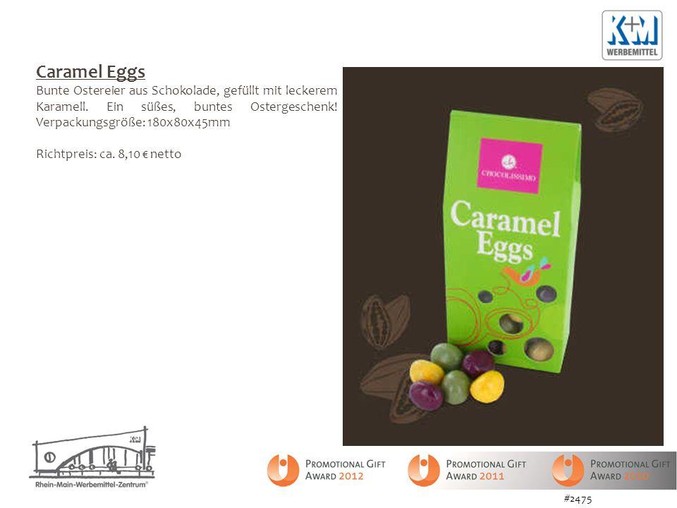 Caramel Eggs Bunte Ostereier aus Schokolade, gefüllt mit leckerem Karamell. Ein süßes, buntes Ostergeschenk! Verpackungsgröße: 180x80x45mm.