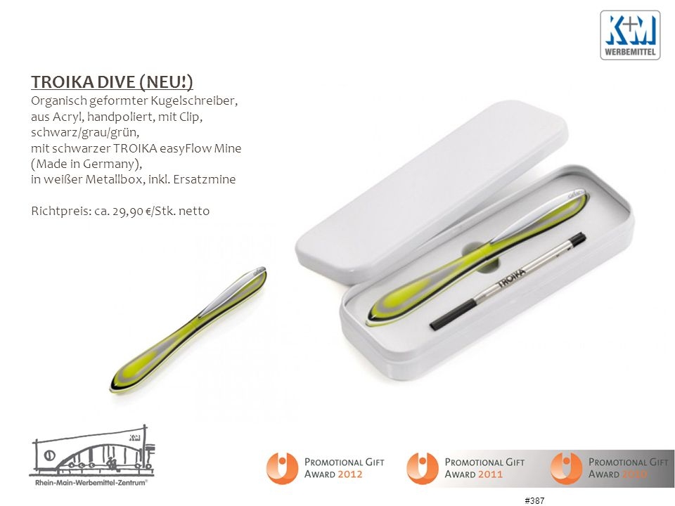 TROIKA DIVE (NEU!) Organisch geformter Kugelschreiber,