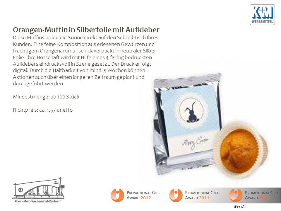 Orangen-Muffin in Silberfolie mit Aufkleber