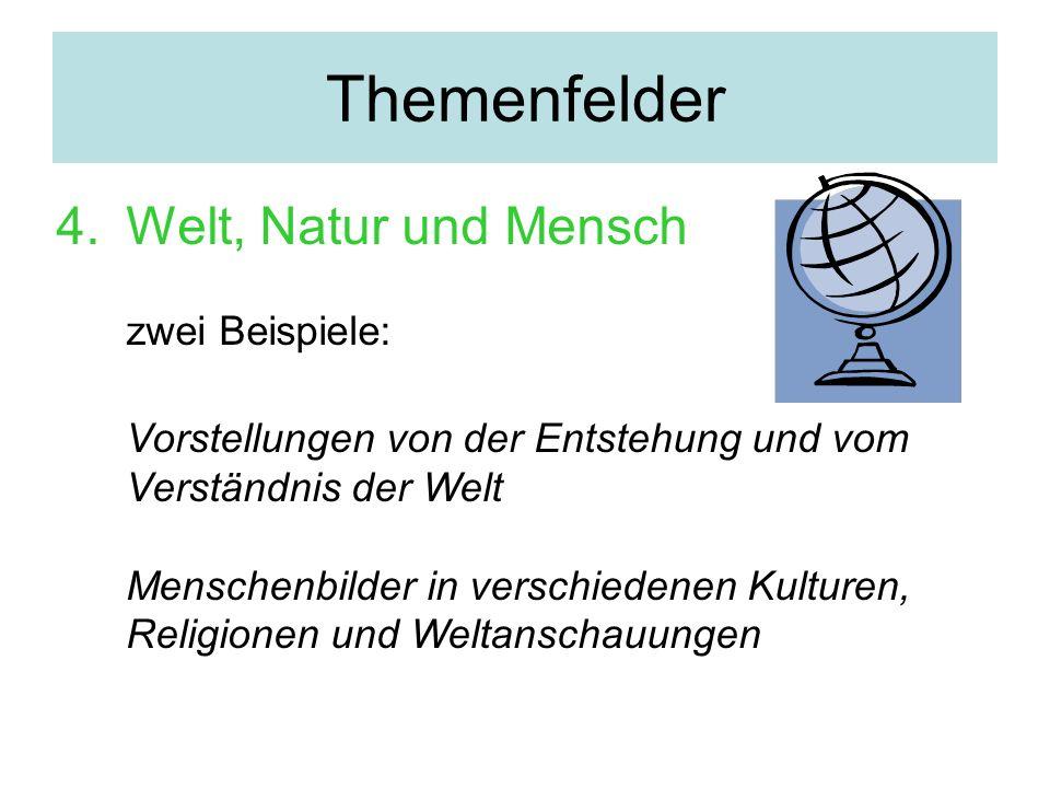 Themenfelder Welt, Natur und Mensch zwei Beispiele: