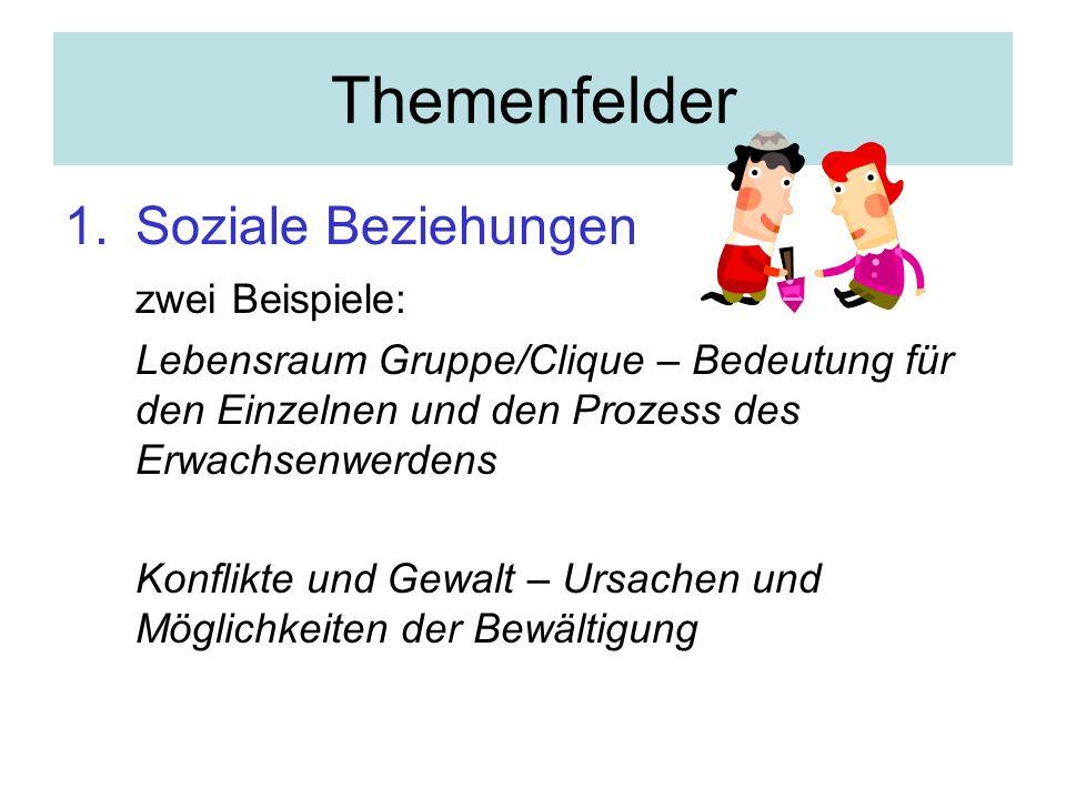 Themenfelder Soziale Beziehungen zwei Beispiele: