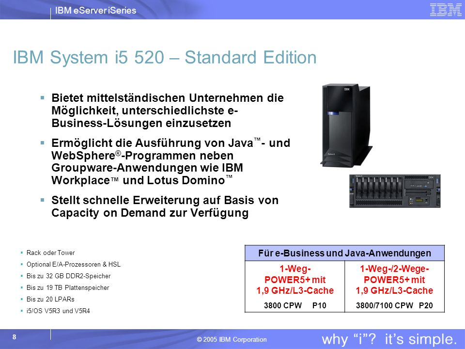 IBM System i5 520 – Standard Edition