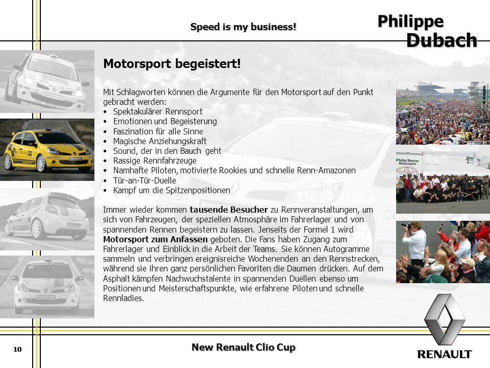 Philippe Dubach Motorsport begeistert! Speed is my business!