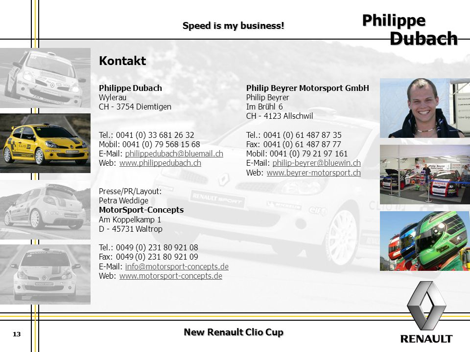 Philippe Dubach Kontakt Speed is my business! New Renault Clio Cup