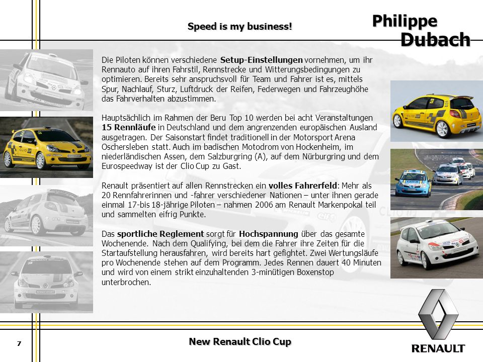 Philippe Dubach Speed is my business! New Renault Clio Cup