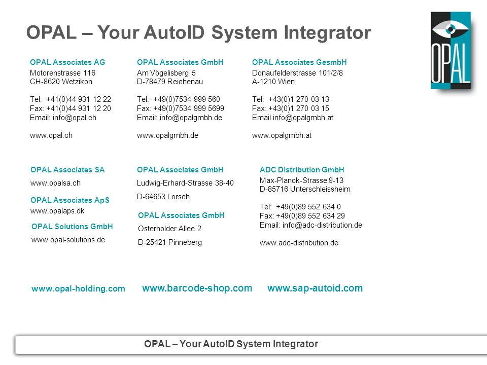 OPAL – Your AutoID System Integrator