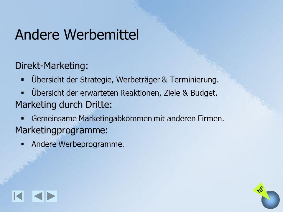 Andere Werbemittel Direkt-Marketing: Marketing durch Dritte: