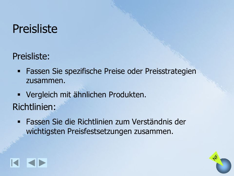 Preisliste Preisliste: Richtlinien: