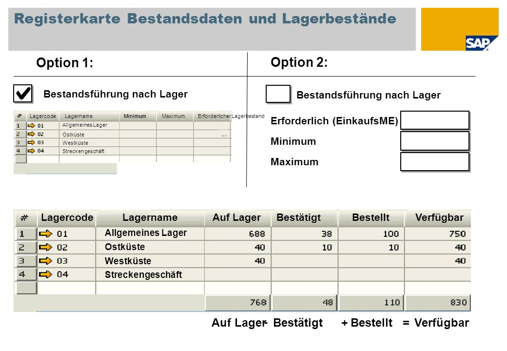 Registerkarte Bestandsdaten und Lagerbestände