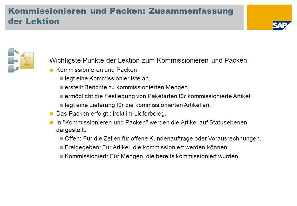 Kommissionieren und Packen: Zusammenfassung der Lektion