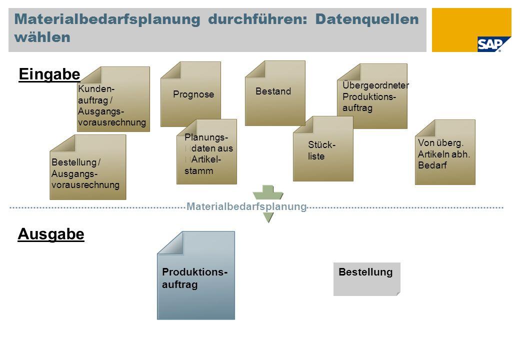 Materialbedarfsplanung durchführen: Datenquellen wählen