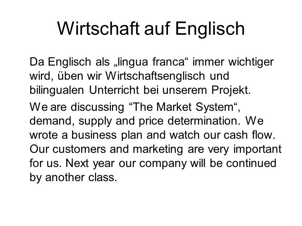 Wirtschaft auf Englisch