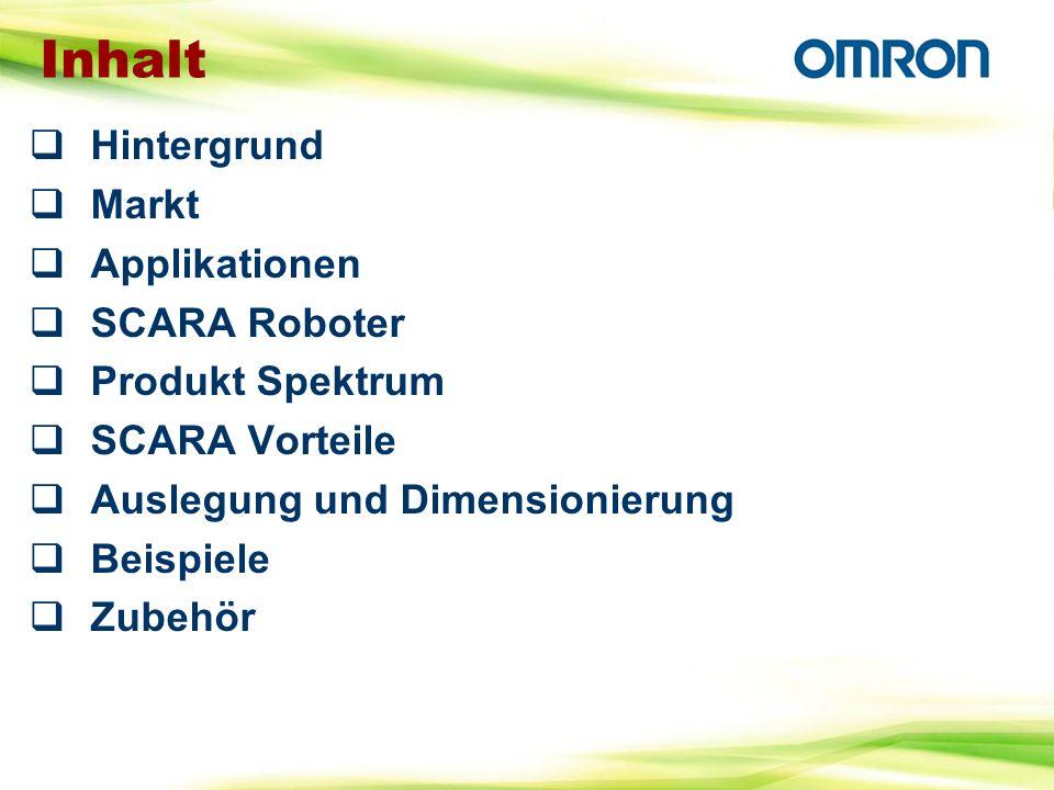 Inhalt Hintergrund Markt Applikationen SCARA Roboter Produkt Spektrum