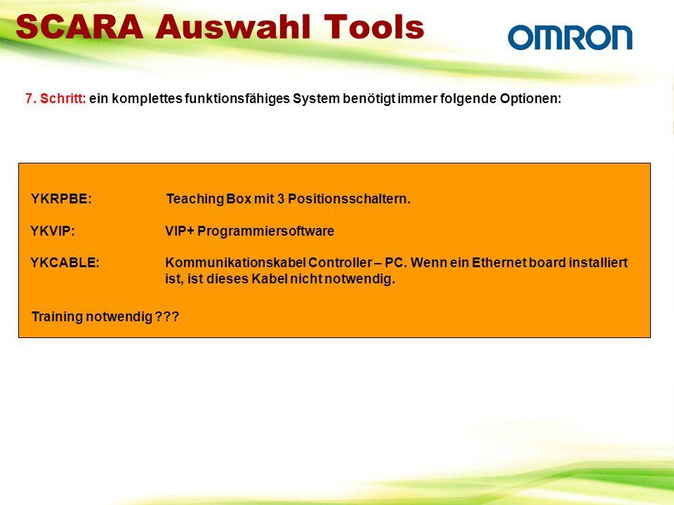 SCARA Auswahl Tools 7. Schritt: ein komplettes funktionsfähiges System benötigt immer folgende Optionen: