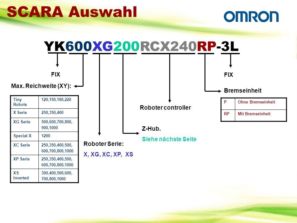 SCARA Auswahl YK600XG200RCX240RP-3L FIX FIX Max. Reichweite (XY):