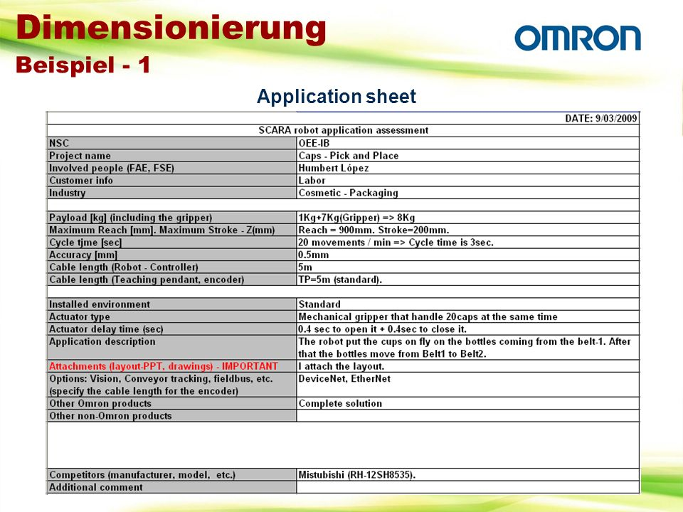 Dimensionierung Beispiel - 1 Application sheet