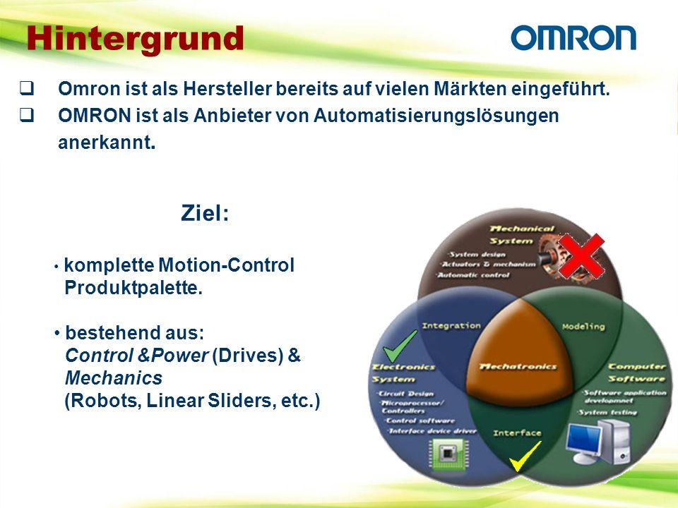 Hintergrund Omron ist als Hersteller bereits auf vielen Märkten eingeführt. OMRON ist als Anbieter von Automatisierungslösungen anerkannt.