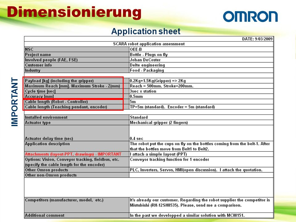 Dimensionierung Application sheet IMPORTANT
