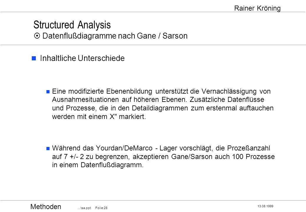 Structured Analysis ¤ Datenflußdiagramme nach Gane / Sarson