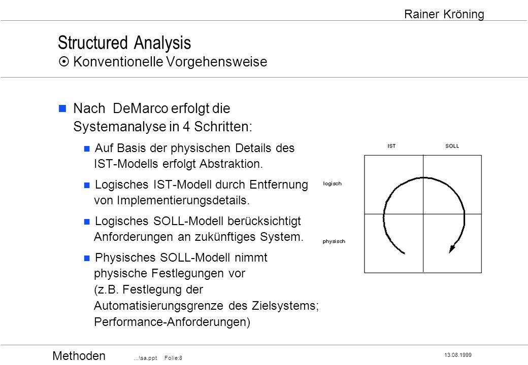 Structured Analysis ¤ Konventionelle Vorgehensweise