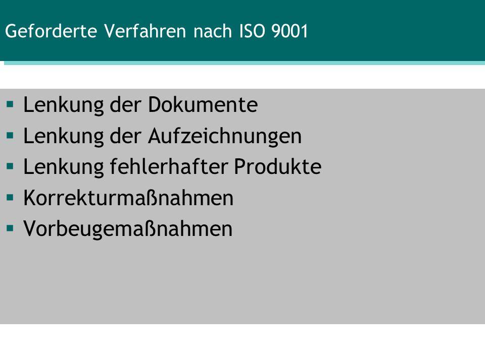 Geforderte Verfahren nach ISO 9001