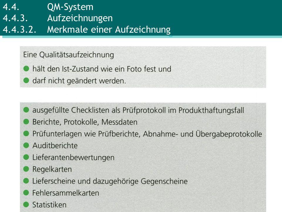 4. 4. QM-System 4. 4. 3. Aufzeichnungen 4. 4. 3. 2