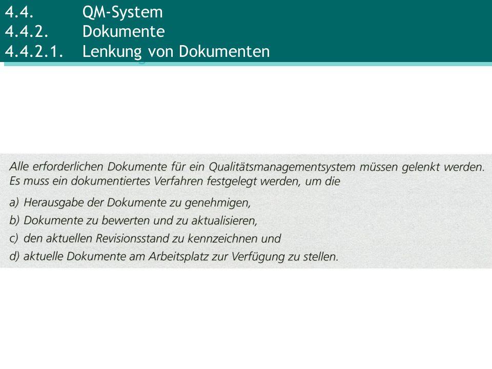 4.4. QM-System 4.4.2. Dokumente 4.4.2.1. Lenkung von Dokumenten