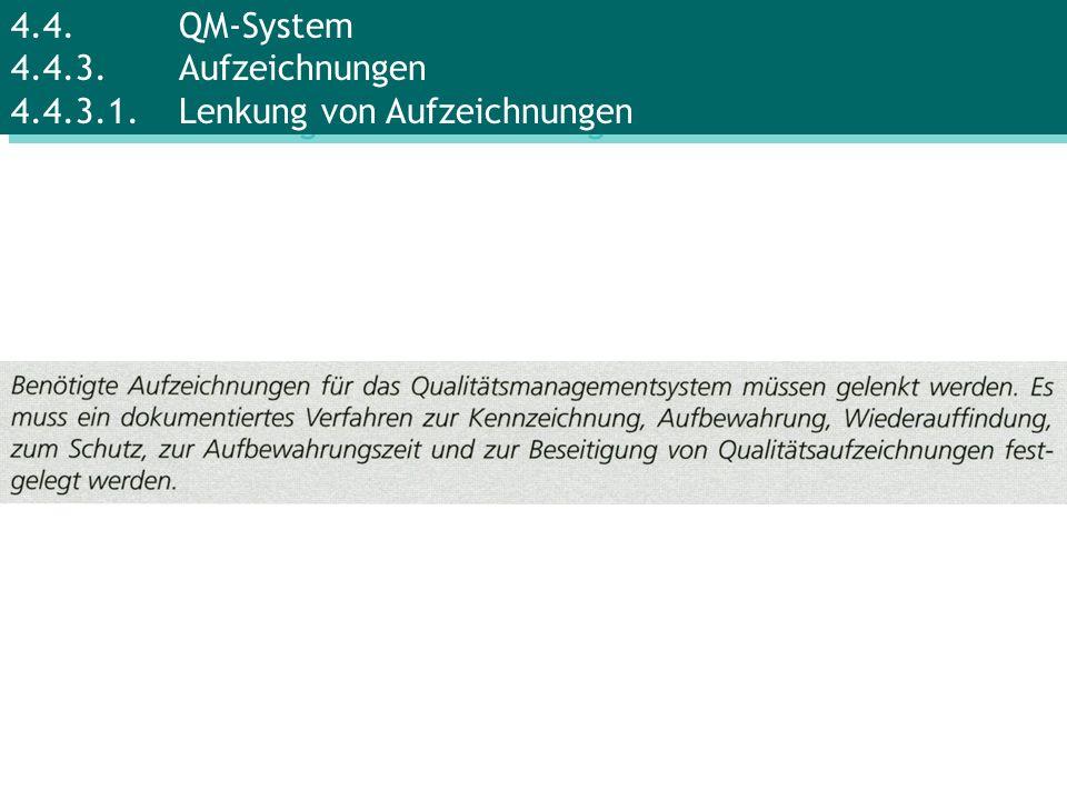 4. 4. QM-System 4. 4. 3. Aufzeichnungen 4. 4. 3. 1