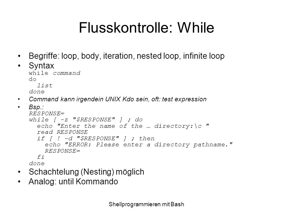 Flusskontrolle: While