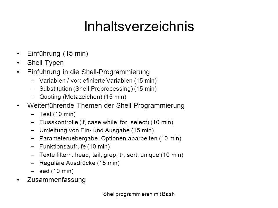 Shellprogrammieren mit Bash