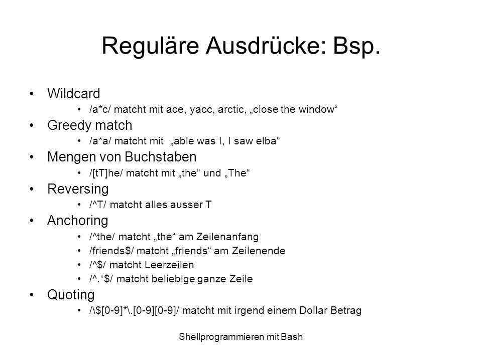Reguläre Ausdrücke: Bsp.