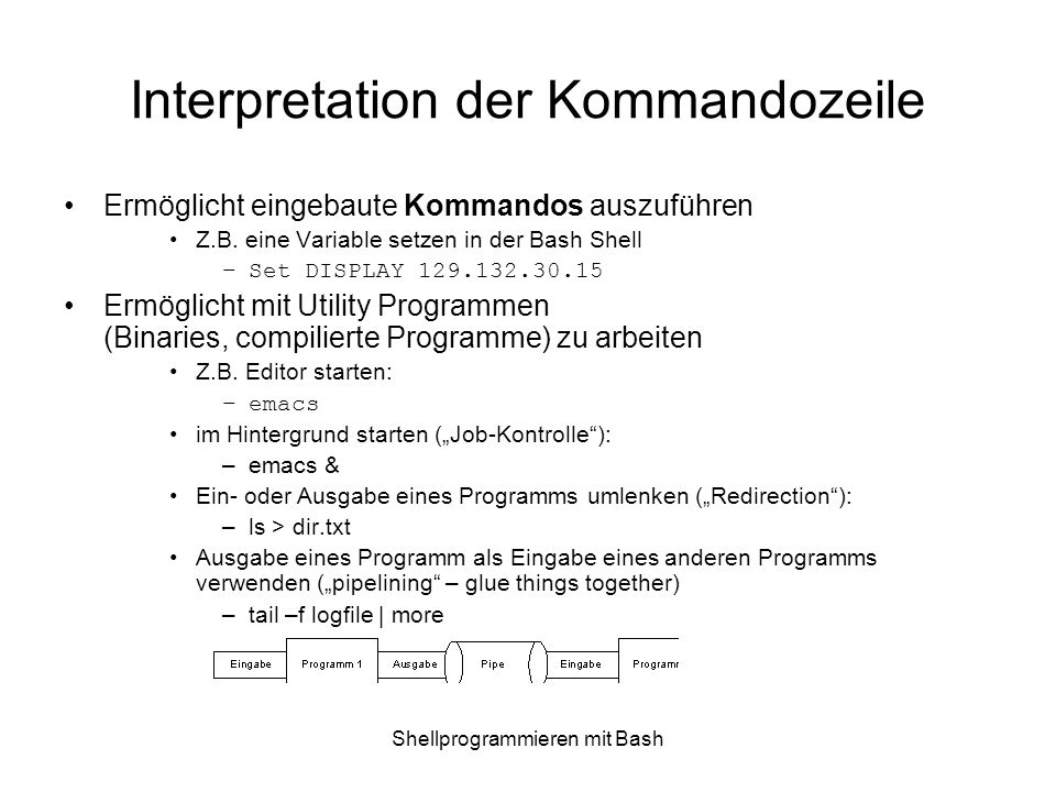 Interpretation der Kommandozeile