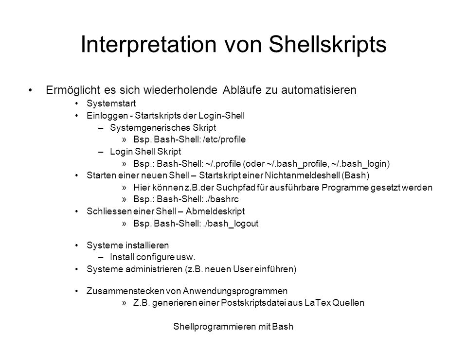 Interpretation von Shellskripts